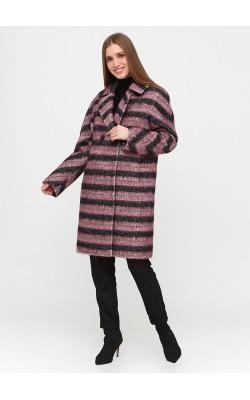 Тепле двубортне пальто в чорно-бузкову смужку