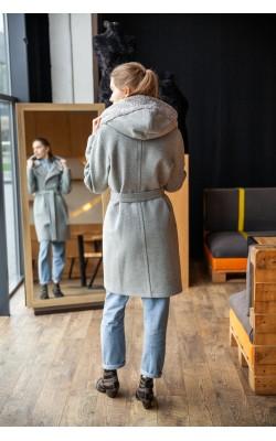 Сіре пальто з еко-каракулем 20-174/У-759-145-3