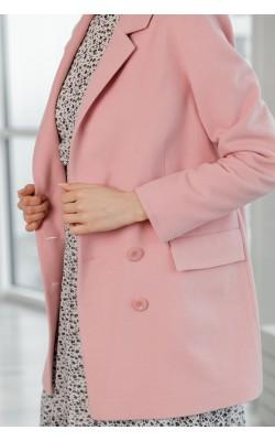Пальто-жакет пудрового кольору 20-181Л