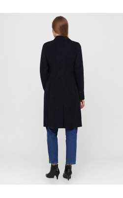 Темно-синє приталене пальто в клітинку