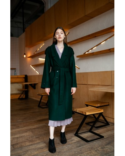 Зелене пальто з погонами 20-200/У-873-142-3
