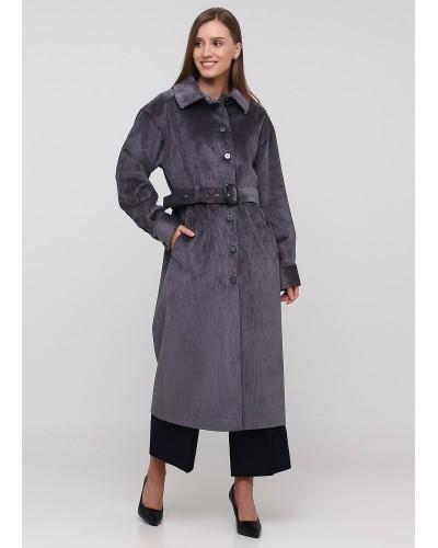Екстравагантне темно-сіре пальто з вельвету
