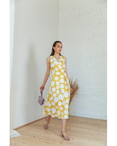 Плаття на запах жовте в горохи 30-219-1043