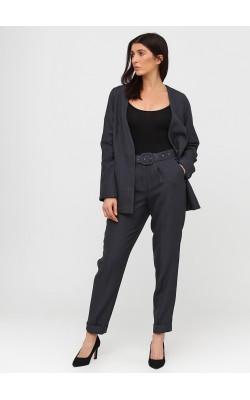 Штани темного сіро-синього кольору з поясом