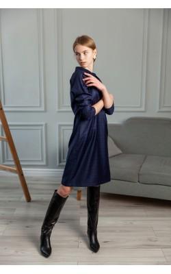 Синє приталене плаття в клітку 30-312-940