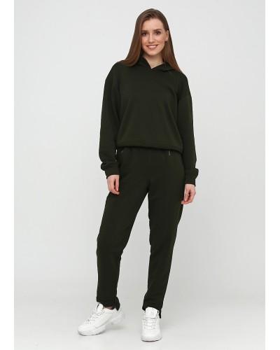 Трикотажні штани хакі із завищеною талією