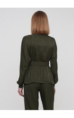 Двубортна блуза на поясі кольору хакі