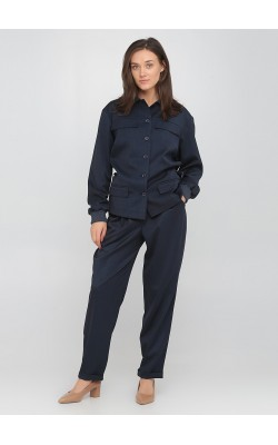 Сині штани з завищенною талією на поясі