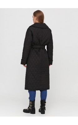 Чорне стьобане пальто міді