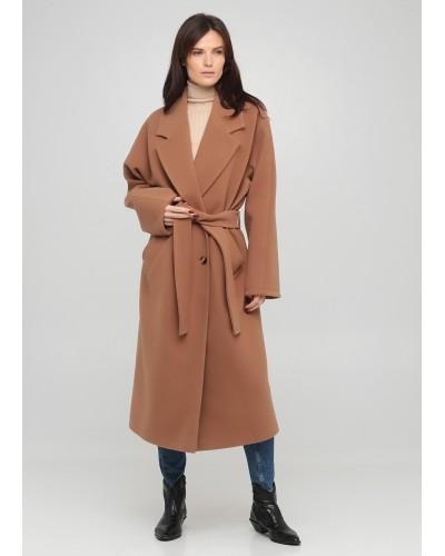 Утеплене коричневе пальто оверсайз