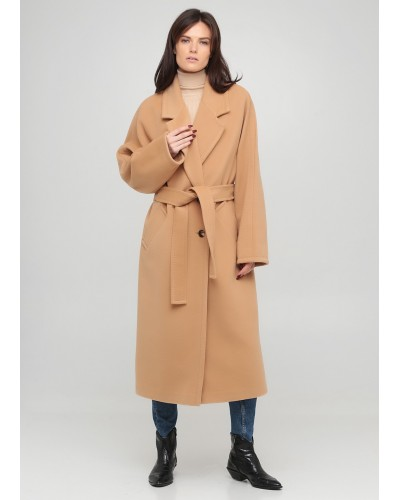 Утеплене бежеве пальто з кашеміром