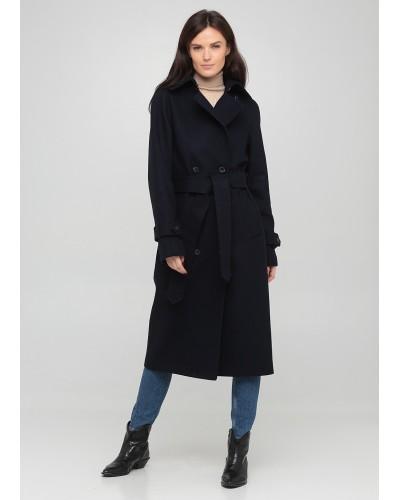 Синьо-чорне двубортне пальто в клітинку