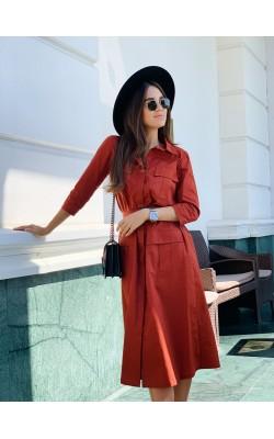 Сукня теракотового кольору з пряжкою 77-376-740