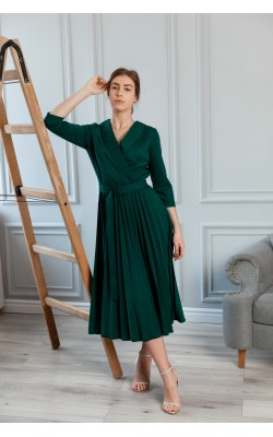 Темно-зелена сукня-сол'є