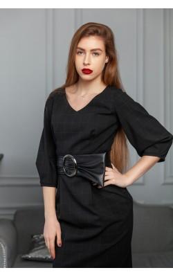 Чорна сукня в клітинку з поясом 77-399-778-136