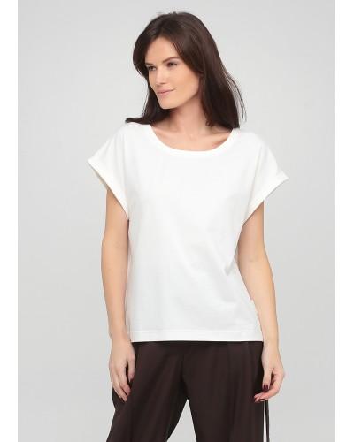 Базова молочна футболка з суцільнокроєним рукавом