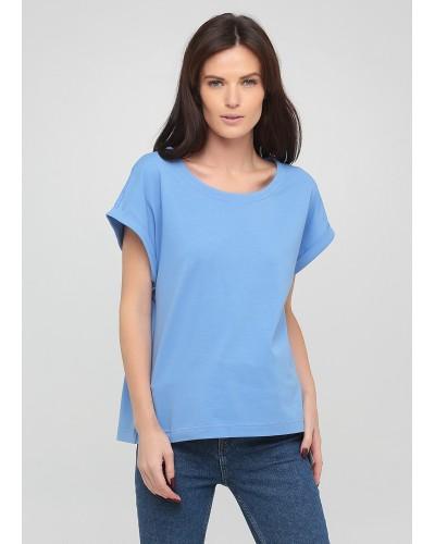 Блакитна футболка з суцільнокроєним рукавом