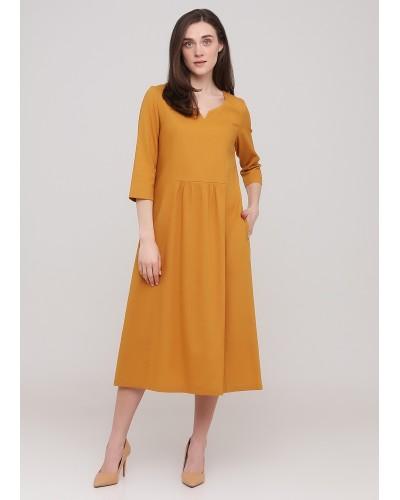 Гірчична міді сукня з вирізом