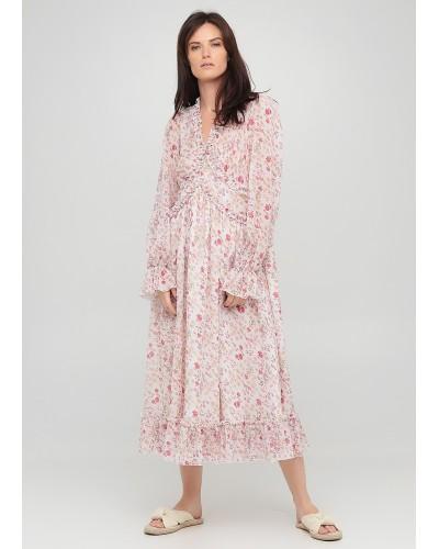 Святкова сукня з квітковим принтом та рюшами