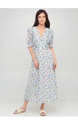 Блакитна сукня міді з квітковим принтом